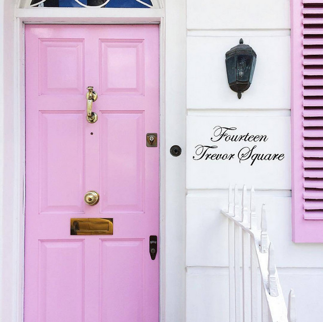 Pink Door. Pink Door Paint Color. Pink Door and Shutters. Pink Front Door #PinkDoor #PinkfrontDoor #Pinkshutters Via The Neotrad.