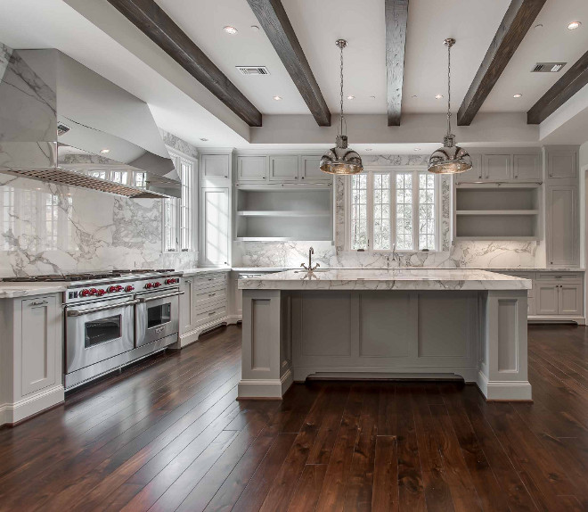 Polished Nickel Kitchen Hood. Polished Nickel Range Hood. Polished Nickel Kitchen Hood Ideas #PolishedNickelHood #Kitchen #Hood Elizabeth Garrett Interiors.