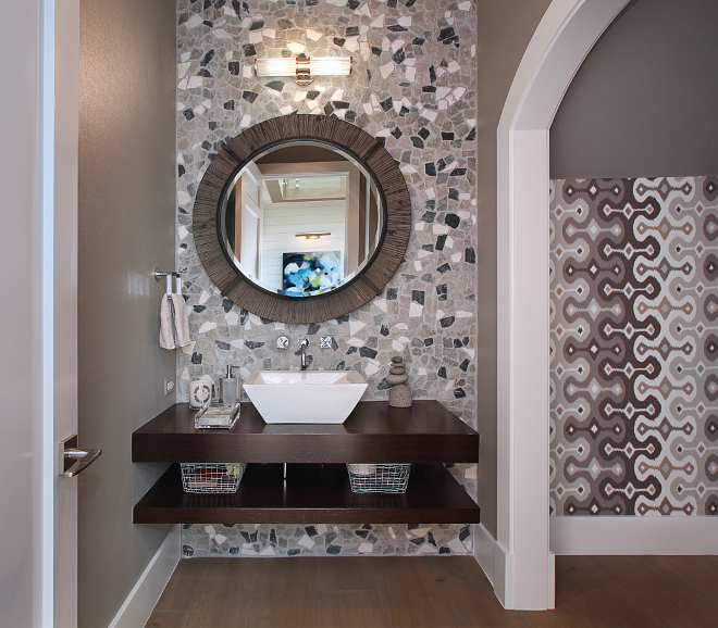 Powder Room Wall Ideas. Gorgeous powder room with a combination Martin Bullock wallpaper, Philip Jeffries seagrass and custom vanity with Kohler sink and wall mounted faucets. #powderRoom #PowderRoomWall #Wallideas #wallpaper Patterson Custom Homes. Interiors by Trish Steele of Churchill Design.