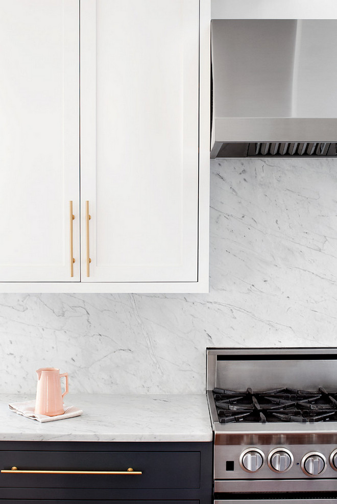 Marble Slab Backsplash. The countertops and continuous backsplash are marble. #marble #countertop #slabbacksplash #kitchen Elizabeth Lawson Design