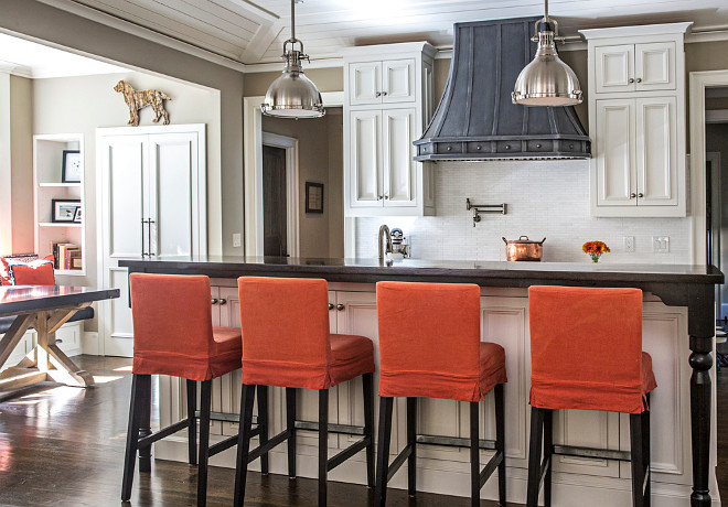 Slipcovered Barstools. Kitchen island Slipcovered Barstools. Beautiful kitchen island with Slipcovered Barstools. #SlipcoveredBarstools #Slipcovered #Barstools #kitchenstools  Tillman Long Interiors.