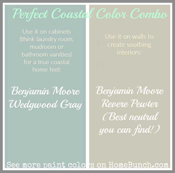 Soothing Paint Color Combo. Soothing paint colors for cabinets and walls. Benjamin Moore Revere Pewter. Benjamin Moore Wedgwood Gray. Use Benjamin Moore Revere Pewter on walls to create soothing, neutral interiors. Use Benjamin Moore Wedgwood Gray on cabinets on laundry room, mudroom or bathroom vanity to create a true coastal feel. Benjamin Moore Revere Pewter. Benjamin Moore Wedgwood Gray. #BenjaminMooreReverePewter #BenjaminMooreWedgwoodGray. #BenjaminMoorePaintcolors ##BenjaminMooreNeutral #BenjaminMooreCoastal #BenjaminMoorePaintcolor Via Home Bunch