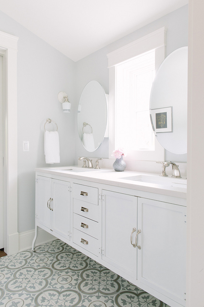 White bathroom with cement tile. White bathroom with cement tiles. White bathroom with cement tile ideas. White bathroom with cement tile #Whitebathroom #cementtile #cementtiles  Kate Marker Interiors.