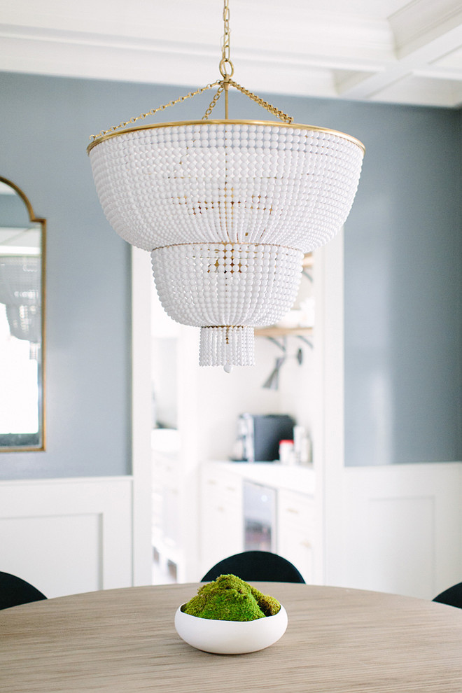 White beaded chandelier. White beaded chandelier ideas. White beaded chandeliers. White beaded chandelier. Dining room White beaded chandelier #Whitebeadedchandelier Kate Marker Interiors.