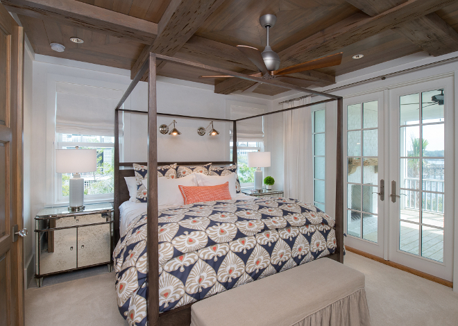 Reclaimed Wood ceiling. Reclaimed wood ceiling ideas. Bedroom features reclaimed Cypress ceiling and beams. #ReclaimedCypressceiling #Reclaimedbeams #ReclaimedWoodceiling Interiors by Courtney Dickey of TS Adams Studio.