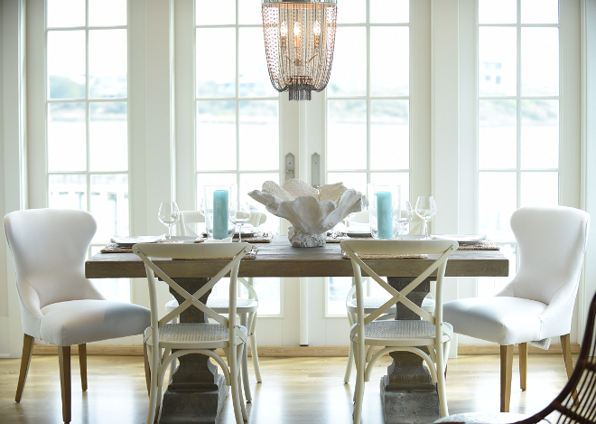 Dining Room Furniture List. Dining room Furniture. Dining Table and Side Chairs are from Restoration Hardware. Host Chairs are from Lee Industries. #DiningRoom #DiningRoomFurniture #DiningRoomchairs #DiningRoomtable #DiningRoomfurniture Interiors by Courtney Dickey of TS Adams Studio.