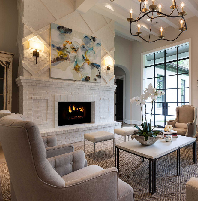Living room fireplace. Floor to ceiling white brick fireplace design. Floor to ceiling white brick fireplace. White brick fireplace. #Floortoceilingfireplace #whitebrickfireplace Elizabeth Garrett Interiors