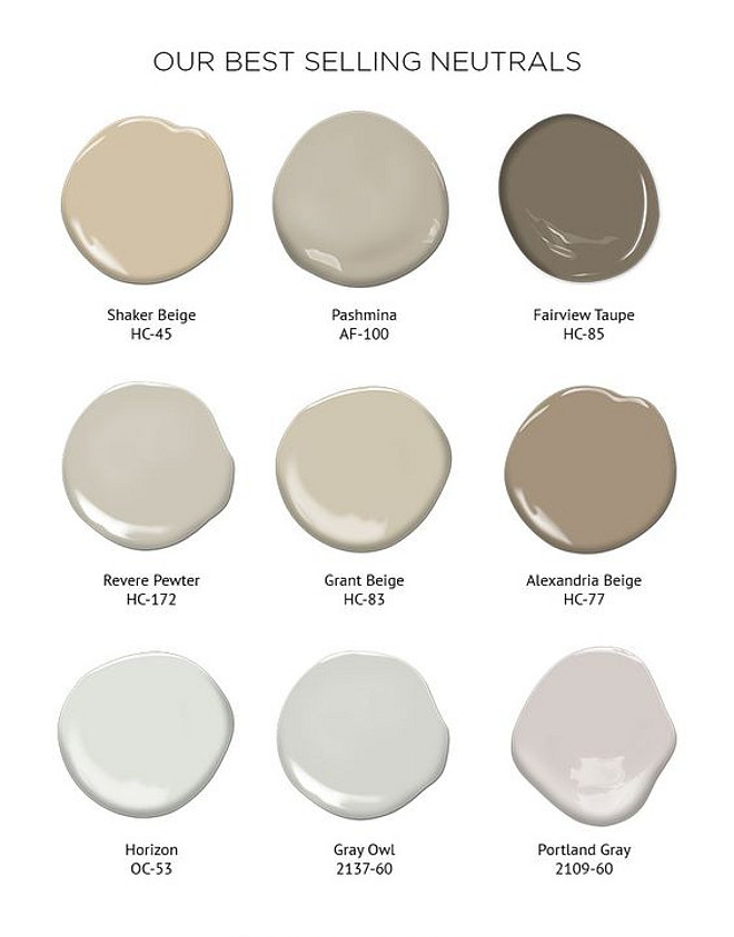 Benjamin Moore Best Selling Neutrals. These neutral paint colors are best sellers for a reason! Benjamin Moore Shaker Beige HC-45. Benjamin Moore Pashima AF-100. Benjamin Moore Fairview Taupe HC-85. Benjamin Moore Revere Pewter HC-172. Benjamin Moore Grant Beige HC-83. Benjamin Moore Alexandria Beige HC-77. Benjamin Moore Horizon OC-53. Benjamin Moore Gray Owl OC-52. Benjamin Moore Portland Gray 2109-60. #Benjaminmoorebestsellingneutrals #Benjaminmooreneutrals #Benjaminmoorepaintcolors