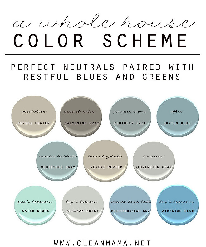 Easy Ideas to Choose Paint Colors for the Whole House. How to Choose a Color Scheme for Your Home. Neutral Paint Colors Paired with Restful Blues and Greens. First Floor: Benjamin Moore Revere Pewter. Accent Color Benjamin Moore Galveston Gray. Powder Room: Benjamin Moore Kentucky Haze. Office: Benjamin Moore Buxton Blue. Master Bathroom: Benjamin Moore Wedgwood Gray. Laundry Room and Hall: Benjamin Moore Revere Pewter. TV Room: Benjamin Moore Stonington Gray. Girl's Bedroom: Benjamin Moore Water Drops. Boys Room: Benjamin Moore Alaskan Husky. Kids Bathroom: Benjamin Moore Mediterranean Sky. Bedroom Benjamin Moore Athenian Blue. #WholeHousePaintColor #WholeHousePaintColors #WholeHouseColorScheme Via Clean Mama.