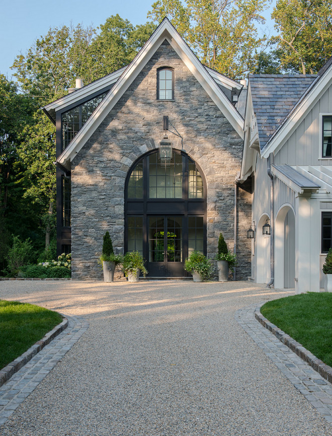 Stone Exterior. Stone Home Exterior. Home exterior with stone and Black Casement Windows. The stone is Byram black fieldstone. #Stone #HomeExterior #stoneExterior #BlackCasementWindow #ByramBlackFieldstone #BlackFieldstone Brooks and Falotico Associates, Inc.