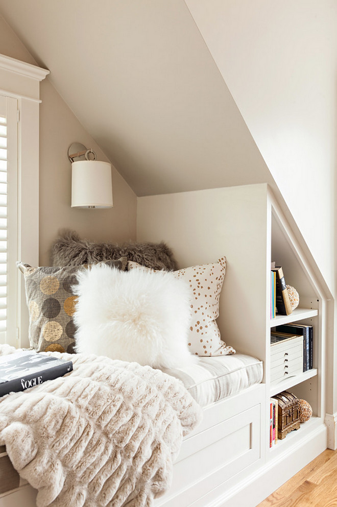 Window seat nook. Window seat nook paint color is Benjamin Moore Edgecomb Gray. Window seat nook with sconces and built in bookcase. Window seat nook painted in Benjamin Moore Edgecomb Gray. Window seat reading nook. #Windowseat #nook #readingnook #paintcolor #BenjaminMooreEdgecombGray