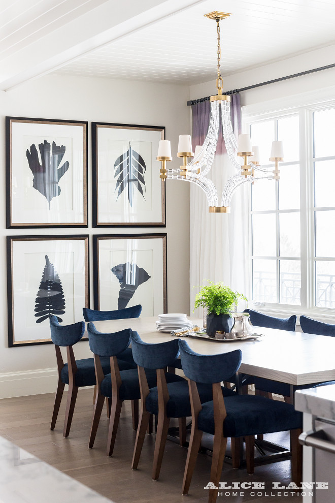 White and navy dining room. White and navy dining room. White and navy dining room ideas. #Whiteandnavy #diningroom Alice Lane Home.