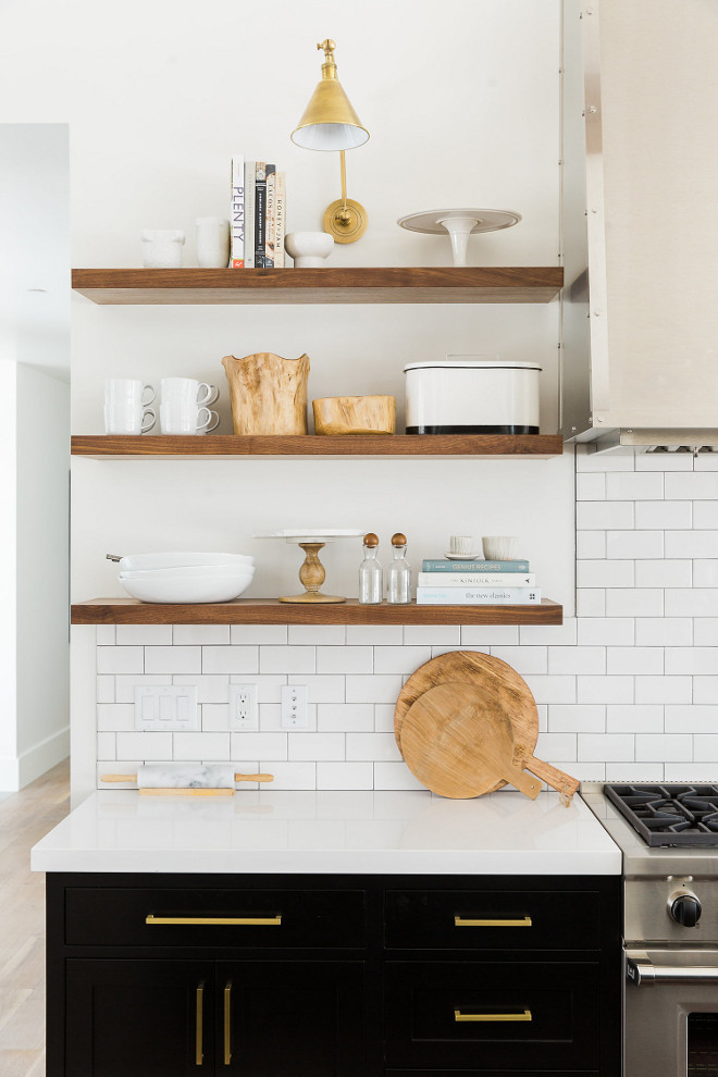 Kitchen rift sawn white oak floating shelves. Kitchen floating shelves made of rift sawn white oak #kitchen #floatingshelves #riftsawn #whiteoak #shelves #openshelves #kitchenshelves Studio McGee. Travis J Photography