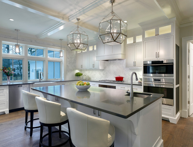 Suzanne Kasler Morris Lantern. Suzanne Kasler Morris Lantern. Suzanne Kasler Morris Lantern above kitchen island. Suzanne Kasler Morris Lantern #SuzanneKasler #Morris #Lantern Mrs. G TV & Appliances - Architect Cathy Knight from Knight Arch.