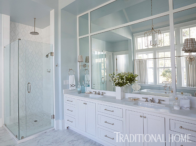Farrow and Ball Borrowed Light. Master Bathroom Paint Color. Master bathroom walls carry a whisper of blue paint color - Farrow and Ball Borrowed Light. Underfoot, veining on the white tile adds contrast. #FarrowandBallBorrowedLight