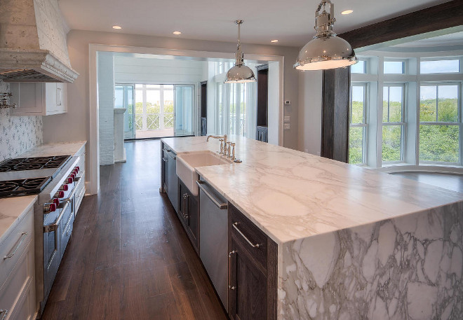 Marble Waterfall island. Marble waterfall kitchen island. Reclaimed wood Marble waterfall kitchen island. #Marblewaterfall #Marblewaterfallkitchenisland #MarblewaterfallIsland #Reclaimedwoodisland #MarblewaterfallCountertop