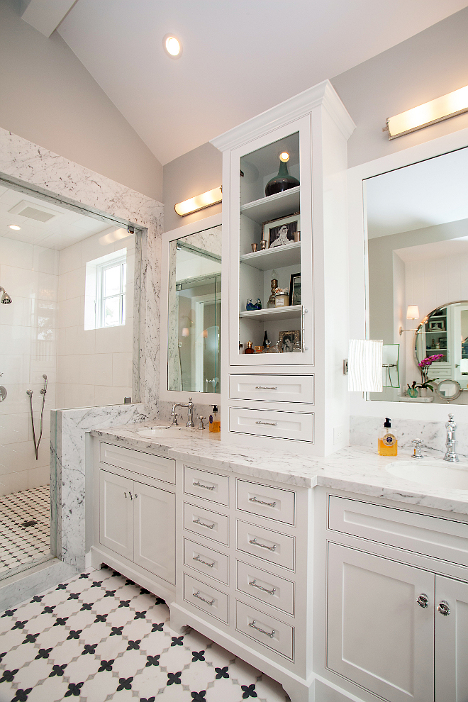 White marble bathroom countertop. White cabinet bathroom with white marble countertop. White marble countertop is Venatino Marble. #VenatinoMarble #Bathroom #MarbleCountertop #countertop #whitebathroomcabinet Patterson Custom Homes