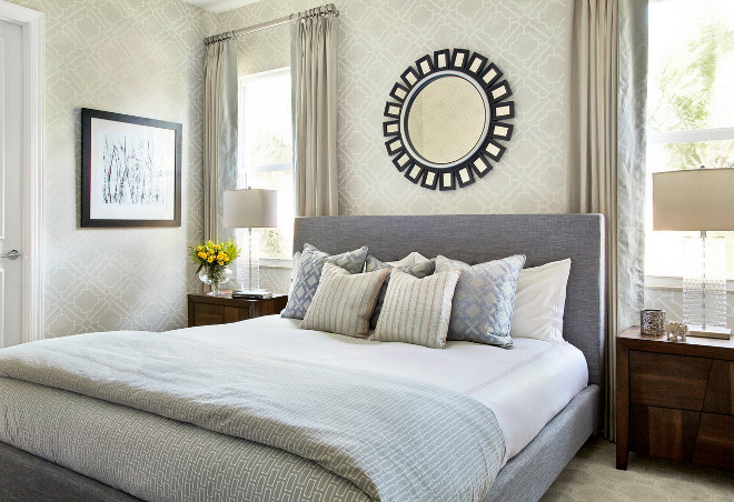 Small Bedroom Decorating Ideas and Tips. This small bedroom feels layered, inviting and comfortable. Great neutral colors for small bedroom. Small Bedroom Dimensions are 12'x14' #SmallBedroom #Bedroom #Decor #InteriorTips  Krista Watterworth Design Studio. Photography by Mark Roskams.
