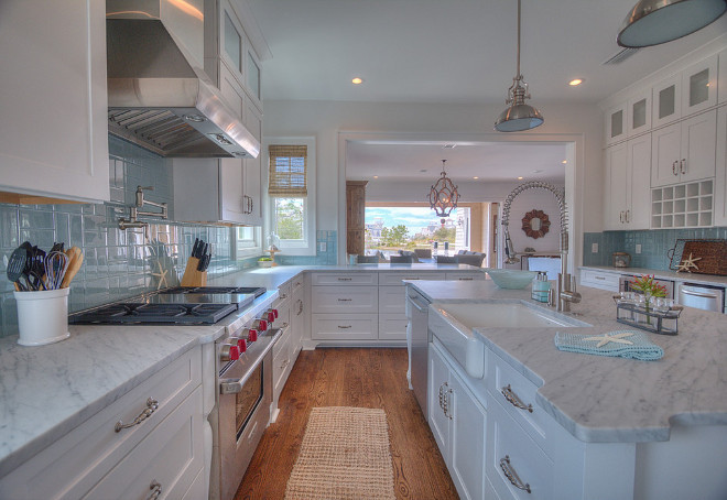 White kitchen with blue backsplash tile. White kitchen with blue backsplash tile ideas. White kitchen with blue backsplash. #Whitekitchen #bluebacksplashtile ##bluebacksplash #bluetile Chi-Mar Construction