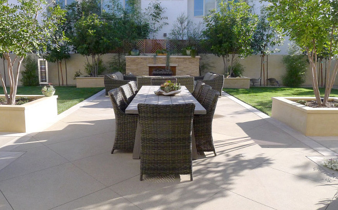 Backyard. The house sits on two lots and one is used specifically as a courtyard. Patterson Custom Homes
