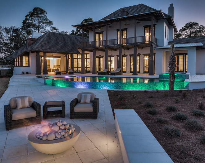 Backyard with firepit. Firepit backyard ideas. #firepit #backyard Backyard. Backyard with pool, large patio and firepit. #Backyard #Pool #Patio #Firepit #BackyardIdeas