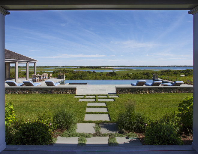 Backyard. Backyard Porch view of pool and bay. Backyard #Backyard Lynn Morgan Design.