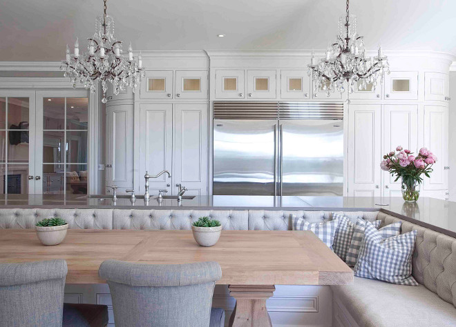 Kitchen island Banquette. Kitchen island with gray quartz countertop and Banquette. Kitchen island Banquette Kitchen island Banquette #Kitchenisland #Banquette #KitchenislandBanquette #Kitchen #islandBanquette