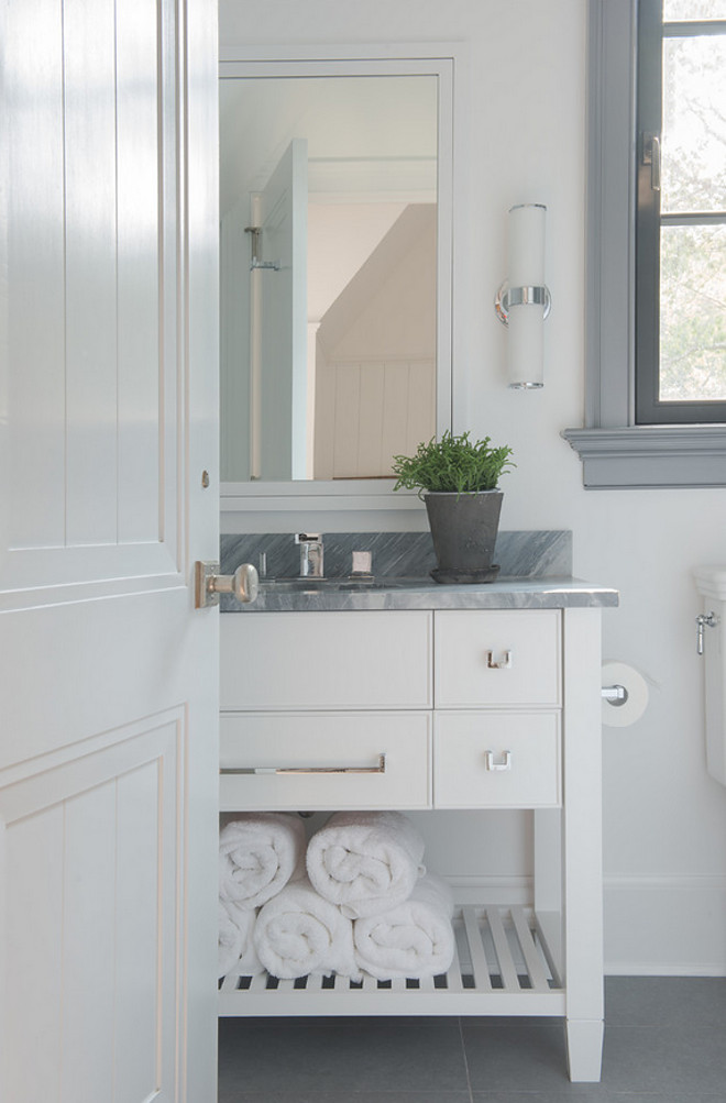 Bardiglio Marble Countertop. The vanity and wall paint color is Benjamin Moore Super White. Bathroom with Gray Countertop. Bathroom countertop is Bardiglio Marble. #BardiglioMarble #Bardiglio #Marble #Countertop #Bathroom Brooks and Falotico Associates, Inc.