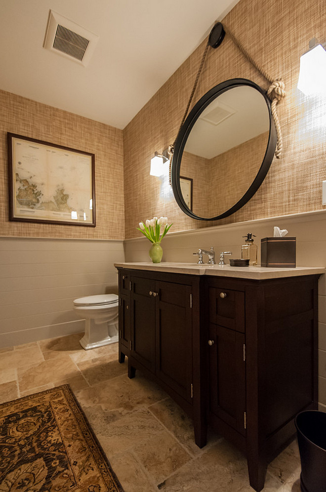 Bathroom reno ideas. How to transform your bathroom. Bathroom Reno. Bathroom reno wainscoting. Bathroom reno flooring. Bathroom reno wallpaper #Bathroomreno Welch Company Home + Design