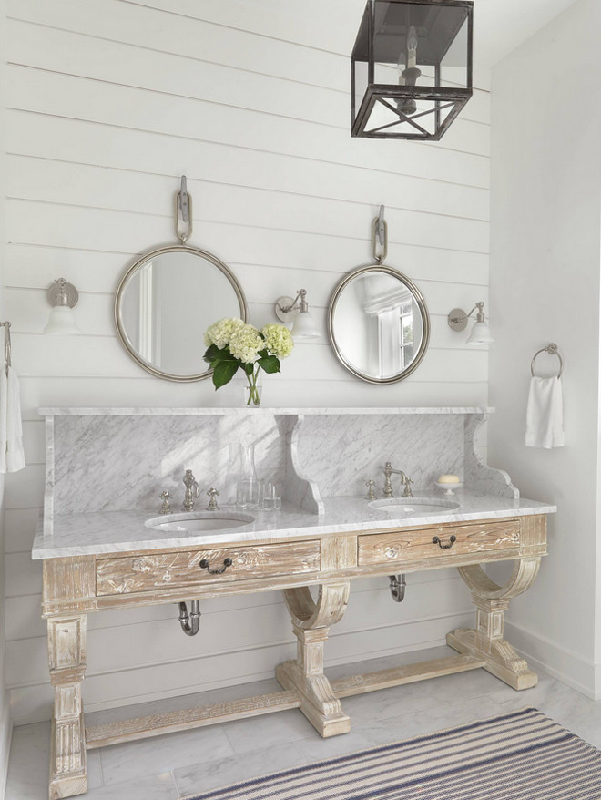 Bathroom vanity. Bathroom white washed wood vanity with marble. Bathroom white washed wood #Bathroom #whitewashedwood Amy Studebaker Design