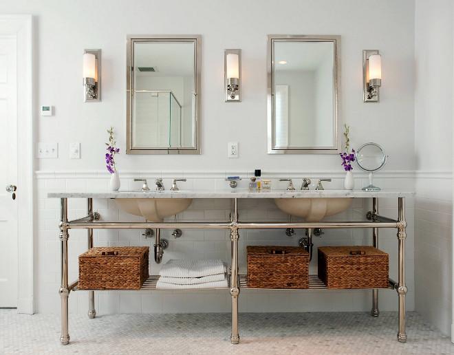 Bathroom washstand. Bathroom double sink washstand. Bathroom double sink washstand design. Bathroom double sink washstand with marble top. #Bathroom #doublesink #washstand CW Design, LLC