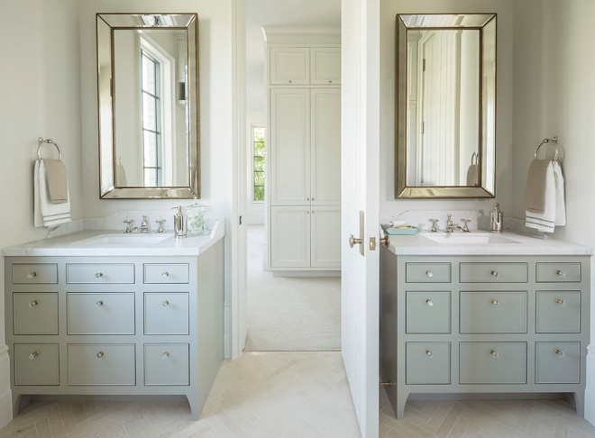 Bathroom with double cabinets painted in a soft shade of gray. #bathroom #cabinets #softgray Jackson and LeRoy