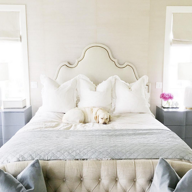 Bedroom. Neutral Bedroom. Neutral bed is from Oly and gray nightstands are from Bungalow 5. #Bedroom #neutralbedroom Rachel Parcell.