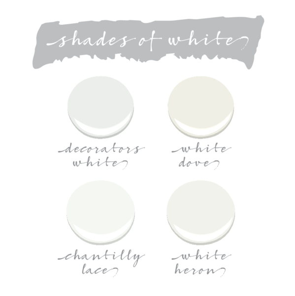 Best Shades of White. Benjamin Moore Decorators White. Benjamin Moore White Dove. Benjamin Moore Chantilly Lace. Benjamin Moore White Heron. #BenjaminMooreWhites #paincolor