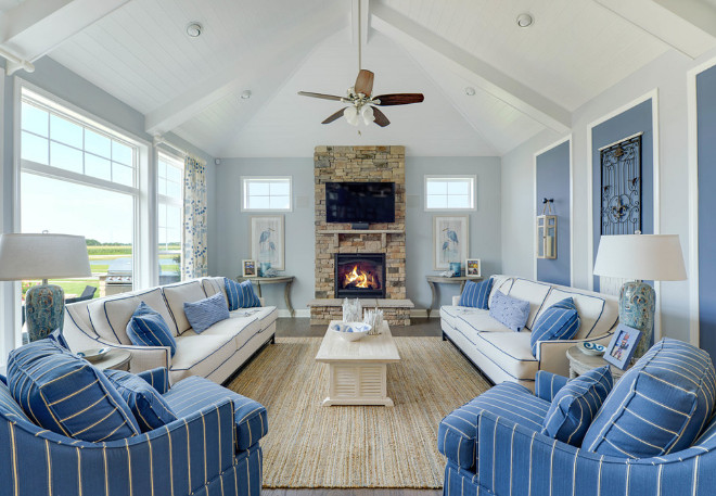 Blue and white living room. Coastal Blue and white living room. Classic Coastal Blue and white living room. #Blueandwhite #livingroom #Coastal #CoastalInteriors Schell Brothers