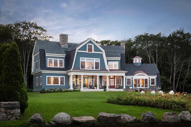 Blue exterior. Blue home exterior. Blue shingle siding #Blueexterior #bluesiding #bluehomes #Bluehomeexterior Bowley Builders