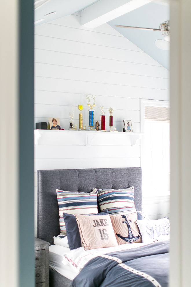 Boys Bedroom with shiplap walls. The charcoal upholstered bed was custom made by the designer. #boysbedroom Churchill Design.