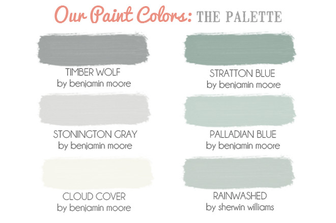 Calm Neutral Color Palette. Timber Wolf by Benjamin Moore. Stratton Blue by Benjamin Moore. Stonington Gray by Benjamin Moore. Palladian Blue by Benjamin Moore. Cloud Cover by Benjamin Moore. Rainwashed by Sherwin Williams. Via Marital Glue.