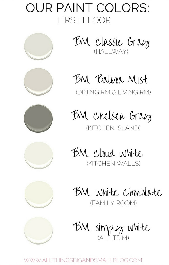 Complete House Color Palette Via All Things Big and Small. Benjamin Moore Classic Gray. Benjamin Moore Balboa Mist. Benjamin Moore Chelsea Gray. Benjamin Moore Cloud White. Benjamin Moore White Chocolate. Benjamin Moore Simply White. #Paintcolors Via All Things Big and Small