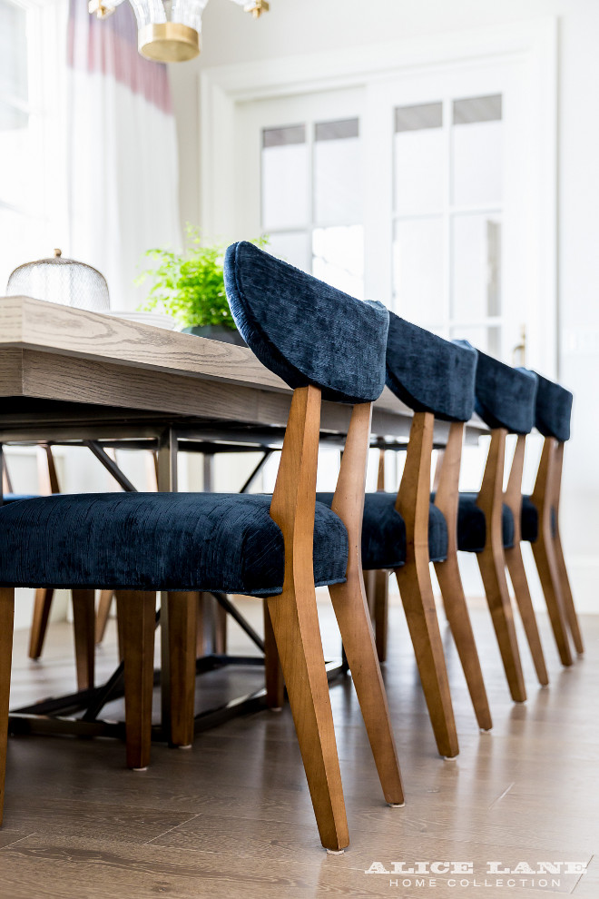 Dining Room Chairs. Dining chairs are Alice Lane Home's Turner Dining Chair in Navy - $934.00 each #Diningchairs #AliceLaneHome #TurnerDiningChair #Navy