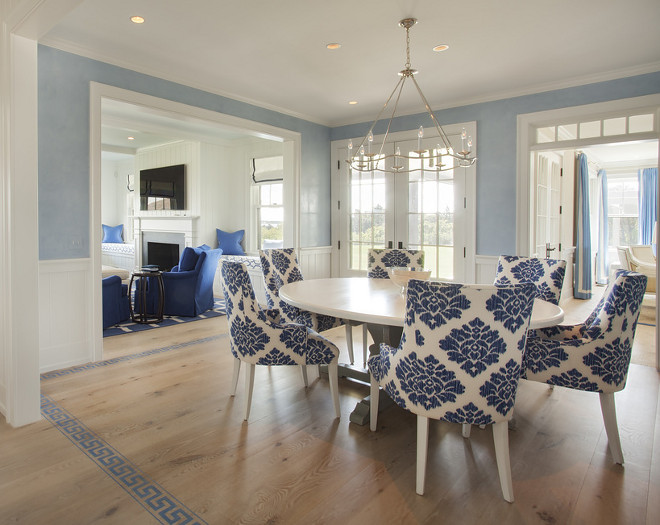Dining room with Painted Greek key floors. beautiful blue and white dining room with Painted Greek key floors. #diningroom #PaintedFloors #Greekkeyfloors. Lynn Morgan Design.