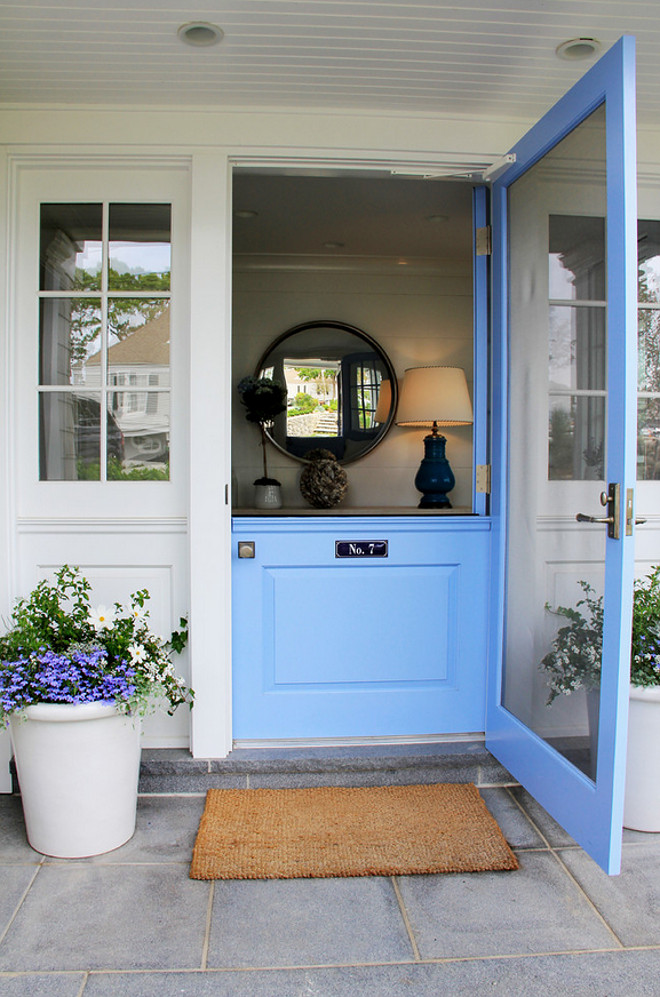 Dutch door. Dutch door. Front Dutch door painted in blue paint color. #Dutchdoor #Frontdoor #BlueDutchDoor #Bluedoor #PaintColor Brooks and Falotico Associates, Inc.