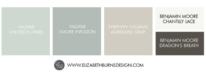 Color+Palette +Valspar+Winter+in+Paris,+Valspar+Smoke+Infusion,+Sherwin+Williams+Agreeable+Gray,+Benjamin+Moore+Chantilly+Lace,+Benjamin+Moore+Dragon's+Breath