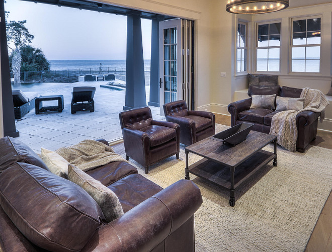 Family room with bifold doors to patio.