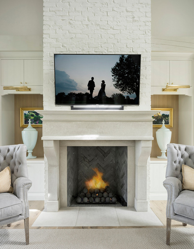 Fireplace. Fireplace. Fireplace features a combination of limestone and painted brick. Fireplace. Limestone. Painted Brick Fireplace Jackson and LeRoy