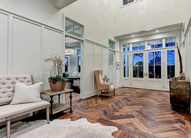 Foyer Flooring. Foyer Flooring. Foyer Flooring is reclaimed wide plank floors in a herringbone pattern. #Foyer #Flooring #reclaimedwideplankfloors #herringbonepattern David Watson Architects