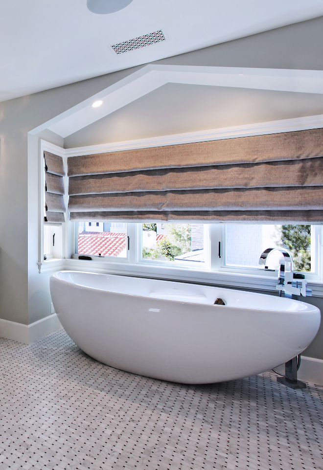Oval freestanding tub and tub filler. Who wouldn't love to relax in that oval tub?! Bath Tub is Bain Ultra Essencia Oval 72 x 36 x 27. Tub Filler is Brizo T70180-PC. #ovaltub #tubfiller Patterson Custom Homes