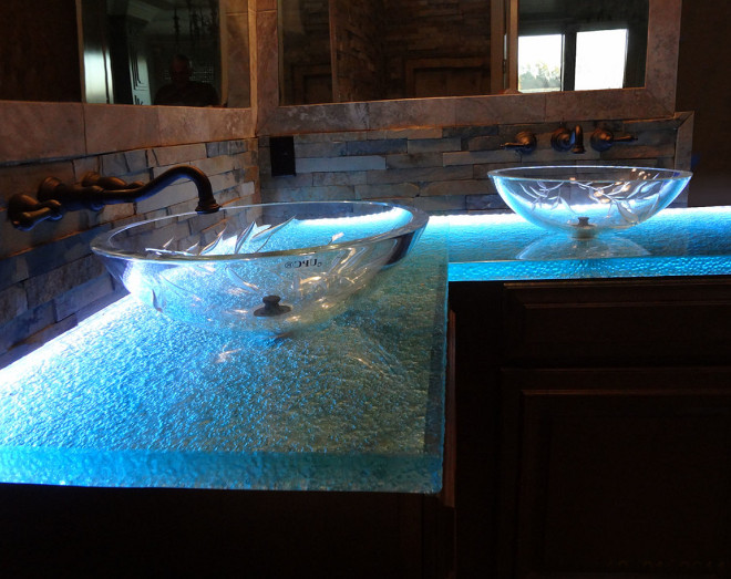 Glass Bathroom Countertop. This entire bathroom was designed by CBD Glass featuring a backlit LED countertop with melting ice texture.