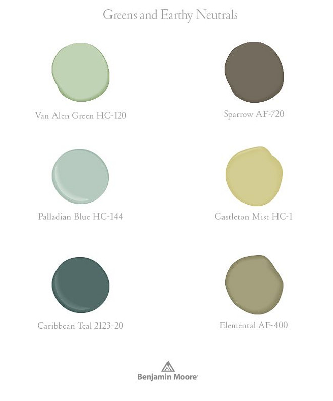 Greens and Turquoises Paint by Benjamin Moore. Greens and Neutrals by Benjamin Moore: Benjamin Moore Van Alen Green HC-120. Benjamin Moore Sparrow AF-720. Benjamin Moore Palladian Blue HC-144. Benjamin Moore Castleton Mist HC-1. Benjamin Moore Caribbean Teal 2123-20. Benjamin Moore Elemental AF-400.