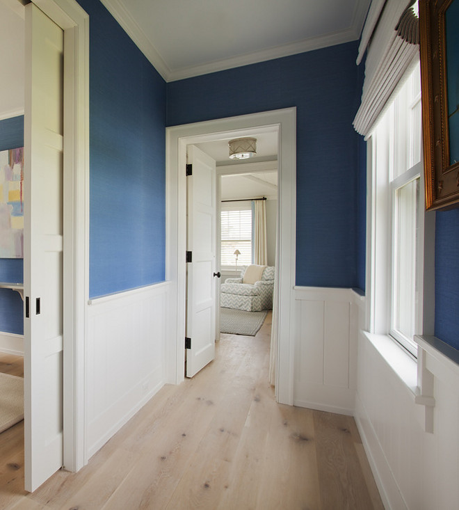 Hall wainscoting. Hall to master bedroom wainscoting. Hall wainscoting dimensions and style. #Hall #wainscoting Lynn Morgan Design.